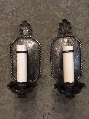 VINTAGE PAIR CAST Iron Arts & Crafts Wall Sconces Hand Hammered ...