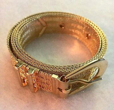 Vintage Retro 1980s Gold Metal Dress Belt 18mm Width