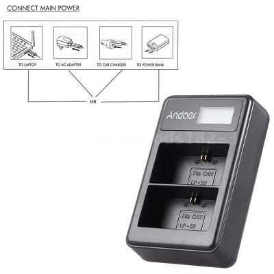 2-Channel LP-E6 Camera Battery Charger for Canon EOS 6D 7D 70D 60D 5D MarkII III