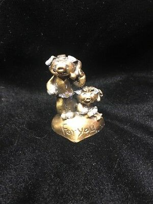 """PEWTER Gold Pig Figurine """"For You"""""""