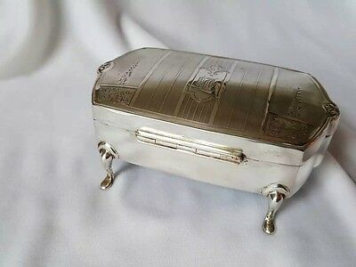 British hallmarked sterling footed jewelry box