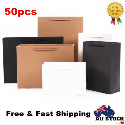 50pcs Kraft Paper Bags 50 x Bulk, Gift Shopping Carry Craft Bag with Handles