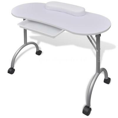 Manicure Table Nail Desk Folding Portable with Castors White New B6T7