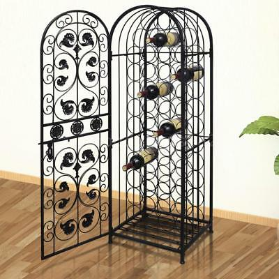 New Metal Wine Storage Cabinet Wine Rack Stand Display Organizer 45 Bottles Q3I6