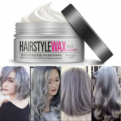 Unisex Temporary Modeling Gray silver DIY Hair Color Wax Mud Dye Cream #sx