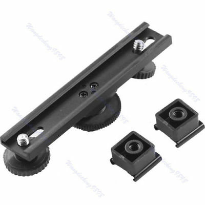 Hot Shoe Extension Dual Bracket Bar Mount For DV Camera Video LED Light SLR Rig