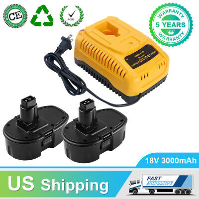 2PCS Replace for Dewalt 18V XRP DC9096 Battery 3600mAh and 1xFast DC9310 Charger