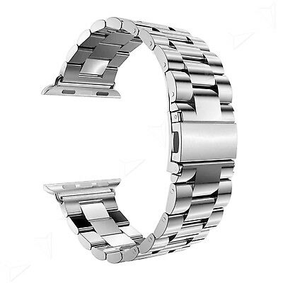 38MM Classic Buckle Watch Replacement Strap For Apple Watch Silver w/ Adapter