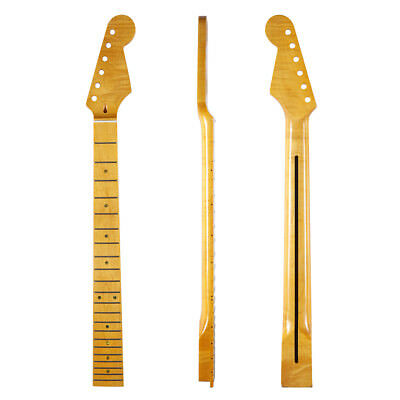 KAISH 22 Fret ST Strat Tiger Flame Maple Guitar Neck Glossy Vintage Yellow