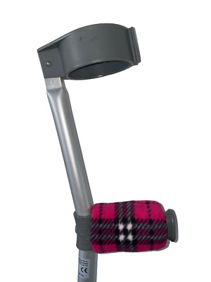 Crutch Handle Padded Covers HIGH QUALITY Cushioned Foam - Pink Tartan