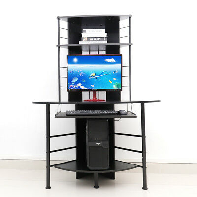 High Corner Computer Desk Game PC Table Home Work Office Study Stand Worktation
