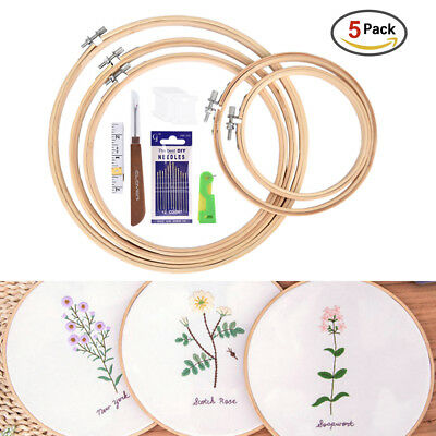 5 Sizes Embroidery Circle Cross Stich Hoops Bamboo Ring Frame Wooden Round Set