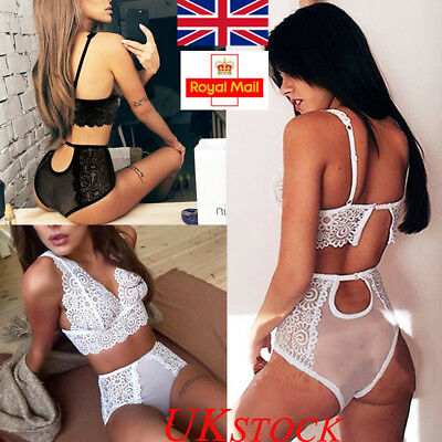 UK Women See Through Sexy/Sissy Lingerie Lace Underwear Nightwear Babydoll Night