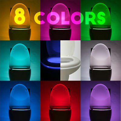 (2-Pack) LED Toilet Night Light 8-Color Body Sensing Automatic Motion Bathroom