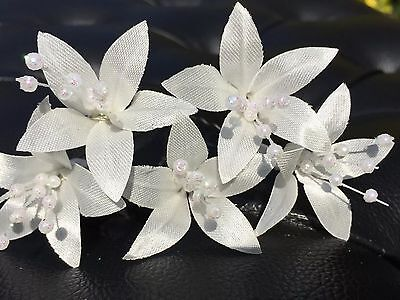 5 Wedding Prom  Shiny Coral Lily Flower Hair Pins Clips handmade