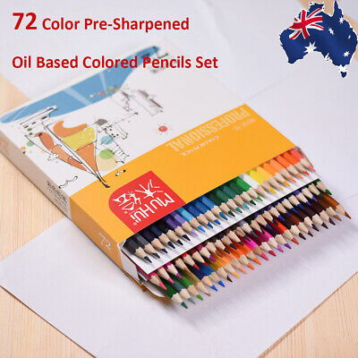 72 Color Pre-Sharpened Oil Based Colored Pencils Set Artist Drawing Sketching AU