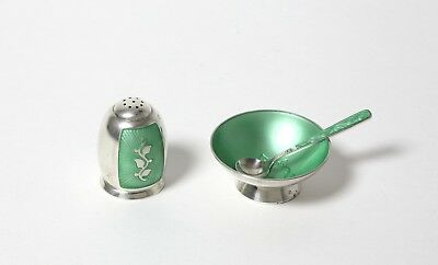 SILVER salt cellar with spoon and pepper shaker. Silver, green enamel. Denmark.