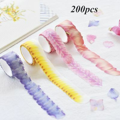 200PCS Decorative Scrapbook Sticker Tape Flower Petals Tape Sticky Paper