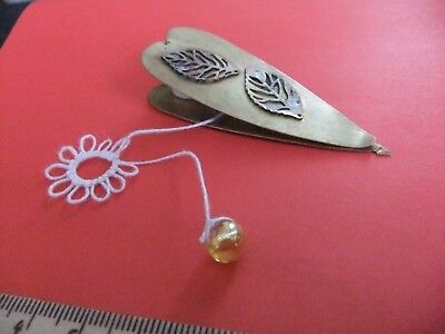 Vintage? French Heart 2 Leaves Tatting Shuttle Frivolite Brass Picot Hook 2 in 1