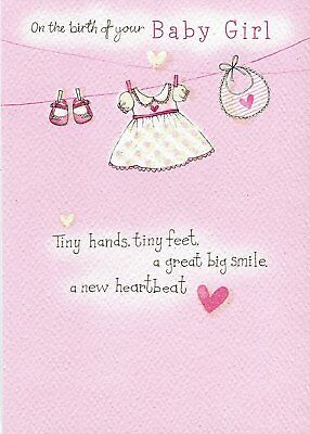 on the birth of your baby girl just write new baby card by second nature
