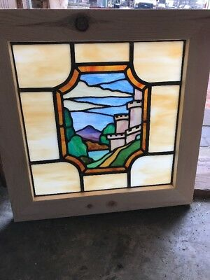 Sg 2213 antique Stainglass scenic window castle 20.25 squared