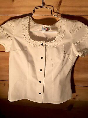 VTG White Austria Trachten Dirndl Dress Eyelet Blouse Lace Trim Folk German M 40