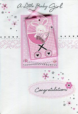 A Little Baby Girl Congratulations Hand Finished New Baby Card