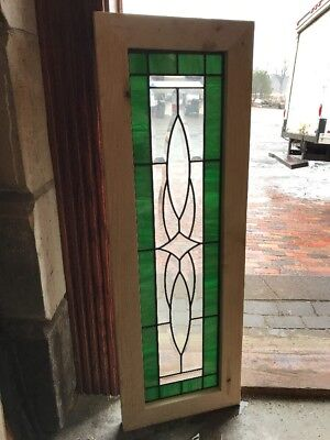 Sg 2218 antique beveled and green glass transom window 13 5/8 x 40.25