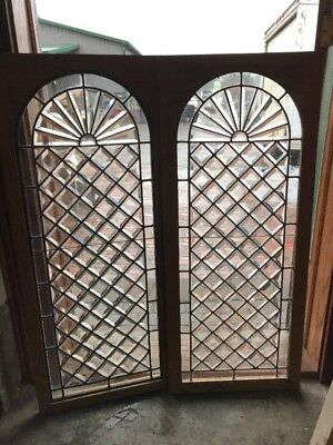 Sg 2216 Matched Pair Amazing All Beveled Vertical Windows 18 X 43 1/8