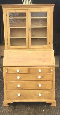 Antique Pine Glazed Doors Bureau Bookcase