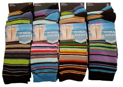 Mens 3 or 6 Pairs Multicolour Stripe Design Socks Pattern Office Everyday Casual