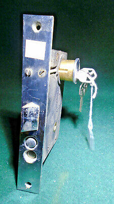 "SARGENT BELLEVILLE PUSH BUTTON BRASS ENTRY MORTISE LOCK w/KEY  8"" FACE (1004-3)"