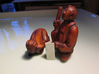 shunga sex male and female separate pieces multiple positions vintage netsuke