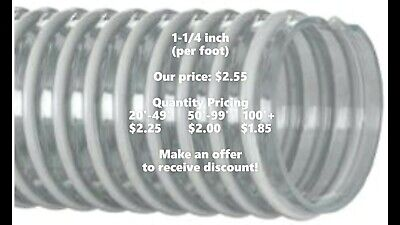"""Kanaflex 100 CL 1-1/4"""" - Corrugated Clear PVC Water Suction Hose (per foot)"""