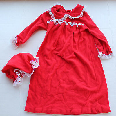 Vintage Size 2T Red Flannel Nightgown with Night Cap - White Lace Trim