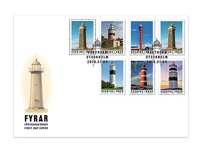 SWEDEN  2018, First Day Cover Lighthouses