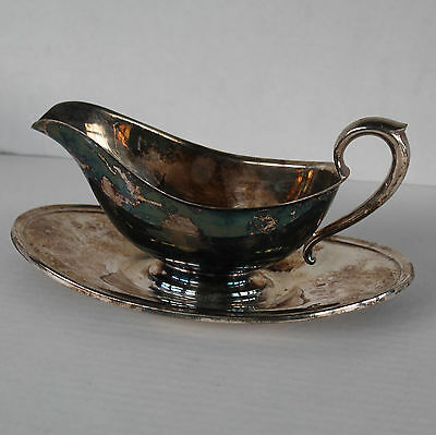 Vintage GORHAM Gravy Sauce Boat with Attached Under Plate Tray YC430 Silverplate