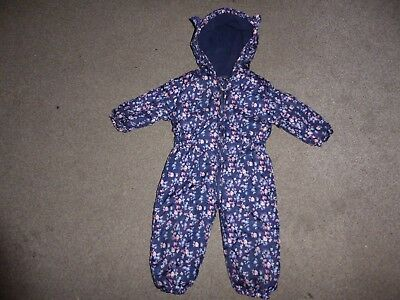 Girls snows suit 9-12 months Fleece Lined Hooded Winter All-in-One Blue Floral