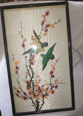 Vintage Framed Oriental Embroidery on Silk Picture of Blossom and Birds. No1.