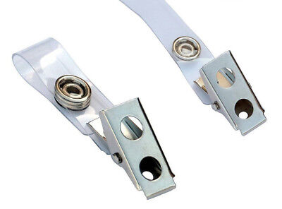 Metal Badge Clips Clear PVC Straps ID Card Holders-Lots of 5/10/25 FREE SHIPPING