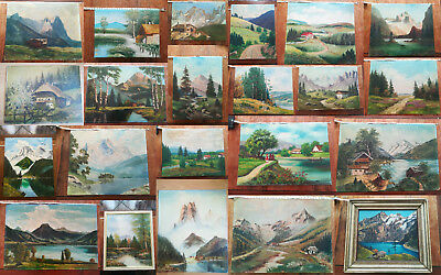 LOT of 22 VINTAGE & ANTIQUE LANDSCAPE OIL PAINTINGS ON CANVAS & BOARD SIGNED