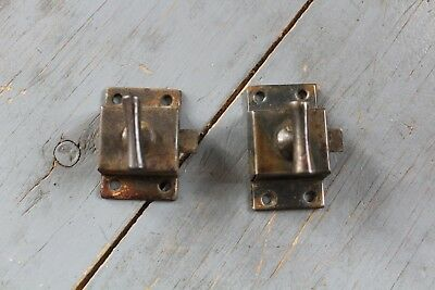 2 Similar Antique Victorian Cast Iron Cabinet Cupboard Door Latch Lock Hardware