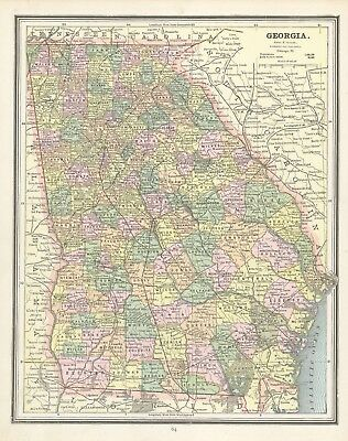 1883 Cram's Map of Georgia (Front) and South Carolina (Back)