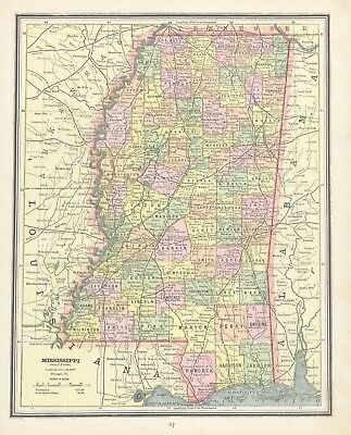 1883 Cram's Map of Mississippi (Front) and Louisiana (Back)