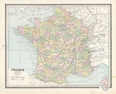 1883 Cram's Map of France (Front) and Europe and Switzerland (Back)