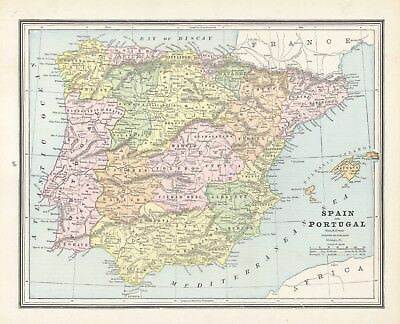 1883 Cram's Map of Spain+ (Front) and Holland and Denmark (Back)
