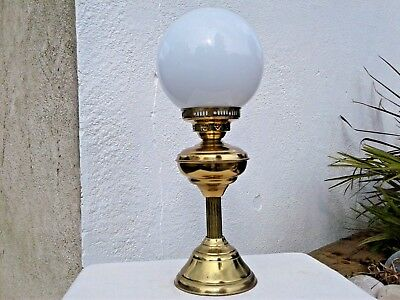 VINTAGE BRASS ELECTRIC TABLE LAMP ~ OIL LAMP STYLE with WHITE GLASS SHADE