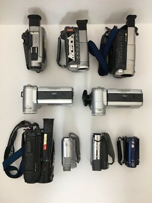 Lot Of 9 Sony, Sharp, Canon Camcorders For Parts Or Repair