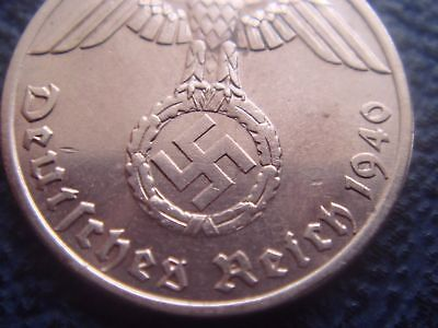 Rare WWII Antique Germany 1937 - 1940 3rd Reich SS Nazi Eagle 1 pfennig Coin