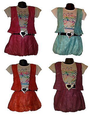 New Girls Party Summer Dress Fake Shrug and Belt Outfit 2Ps Set Top Skirt 3-10ys